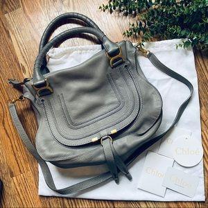 Chloe Marcie Medium Leather Gray Purse Crossbody